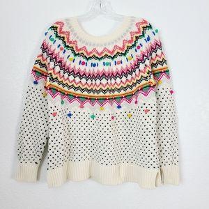 Talbots Pink Nordic Fair Isle Pom Pom Knit Sweater